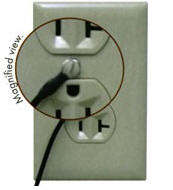 esd matting: cable attached to AC electrical face plate cover