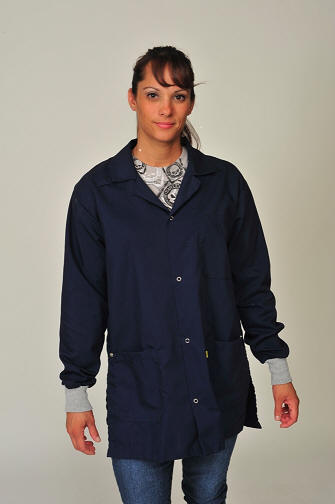 Photo: ESD Smock, Blue Black Color, Cotton Poly with ESD Cuffs